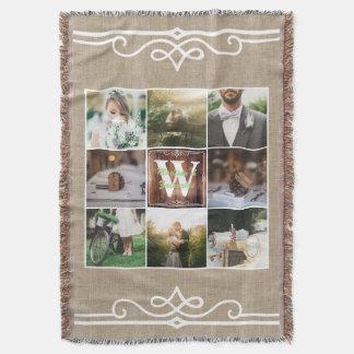 Rustic Wedding Instagram Photo Grid Wood Burlap Throw Blanket