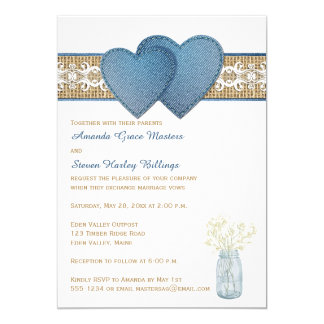 Rustic Wedding Invitation | Denim, Lace, Burlap
