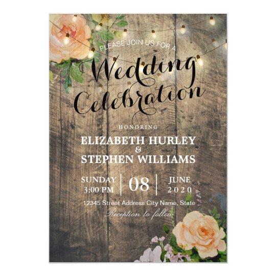 Rustic Wedding Invitation Floral Wood String Light