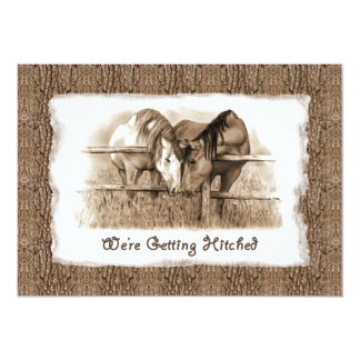 Rustic Wedding Invitation: Getting Hitched: Horses 13 Cm X 18 Cm Invitation Card