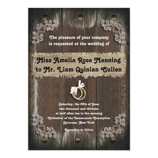 Rustic Wedding Invitation - Wood Backgroun