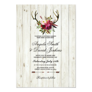 Rustic Wedding Invitations Antlers Floral Stag