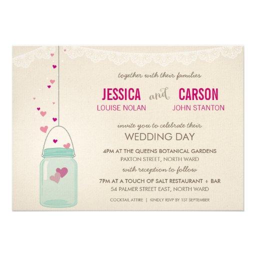 RUSTIC WEDDING INVITE cute mason jar with hearts