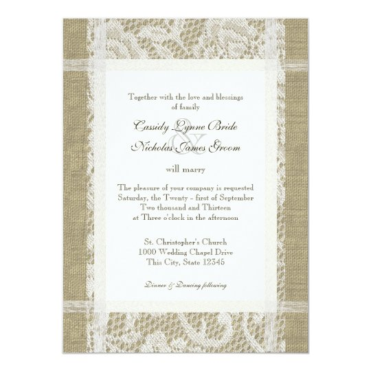 Rustic Wedding Lace and Burlap Card