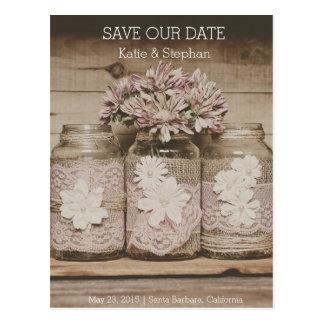 Rustic Wedding Lace Jars SAVE THE DATE Postcard