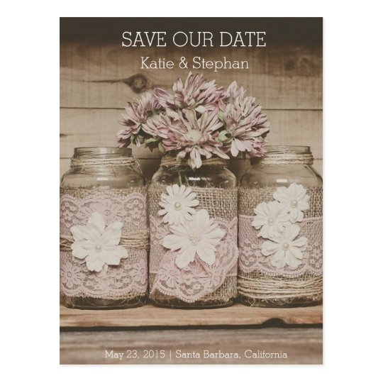 Rustic Wedding Lace Jars SAVE THE DATE Postcard