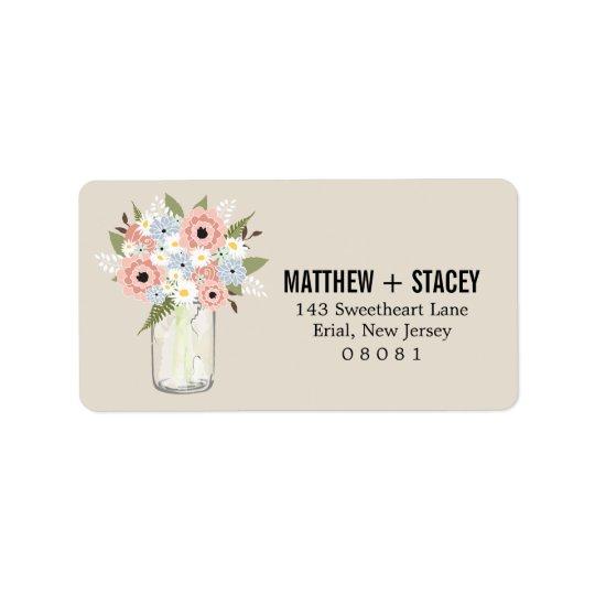Rustic Wedding Mason Jar and Floral Address Label