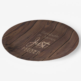 Rustic Wedding Party Dark Brown Wood Country Style Paper Plate