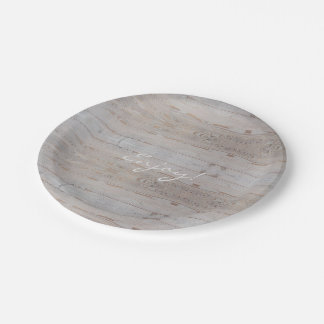 Rustic Wedding Party Light Wood Country Style Paper Plate
