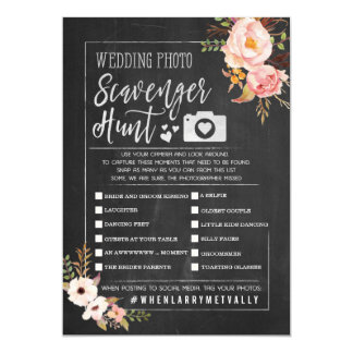 Rustic Wedding Photo Scavenger Hunt I Spy Game Card