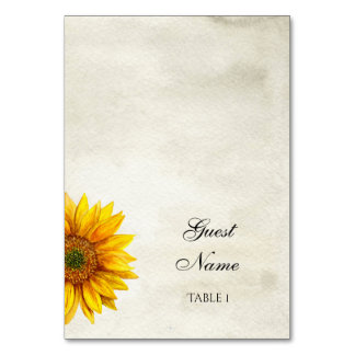 Rustic wedding place card. Sunflower guest card