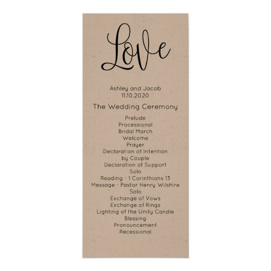 Rustic wedding program. Love. Kraft ceremony card