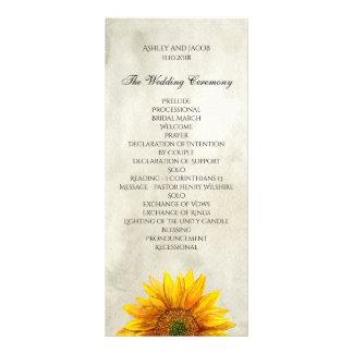 Rustic wedding program. Sunflower ceremony card