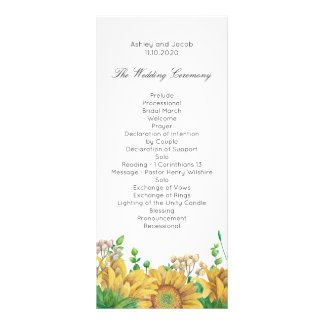 Rustic wedding program Sunflower Country ceremony Personalized Rack Card