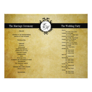 Rustic Wedding Program Vintage Monogram Flyers
