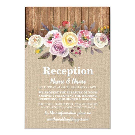 Rustic Wedding Reception Card Burlap Wood Floral