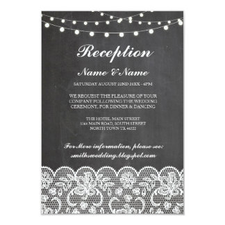 Rustic Wedding Reception Cards Chalk Lace Lights