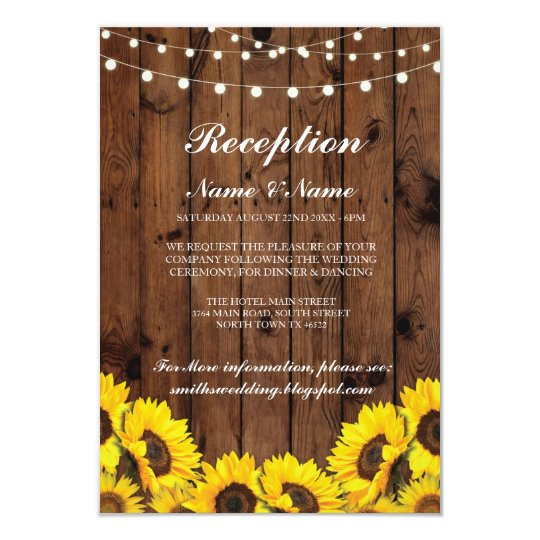 Rustic Wedding Reception Cards Sunflower Wood