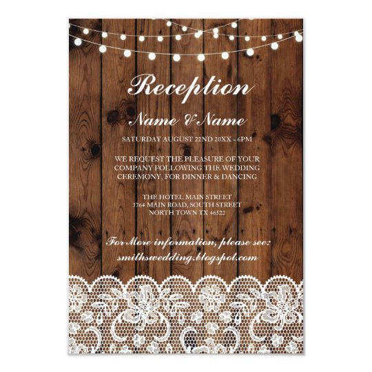 Rustic Wedding Reception Cards Wood Lace Lights