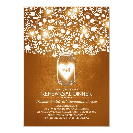 Rustic Wedding Rehearsal & Dinner Mason Jar Invite