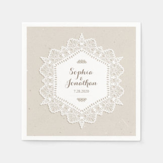 Rustic Wedding Romantic Vintage Lace Doily Disposable Napkin