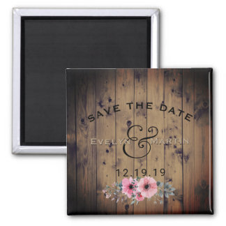 Rustic Wedding Save the Date Barnwood Floral Magnet
