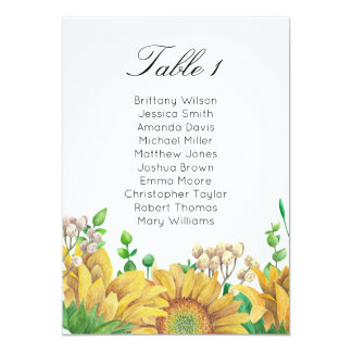 Rustic wedding seating chart. Sunflower table plan Card