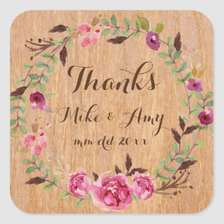 Rustic Wedding Sticker Boho Thanks Wedding Sticker