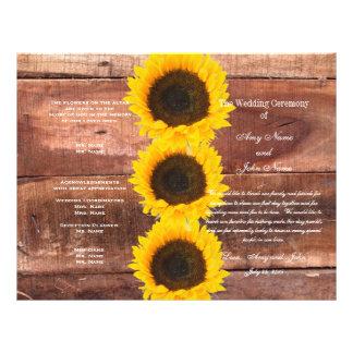 Rustic Wedding Sunflower Country Wedding Program 21.5 Cm X 28 Cm Flyer