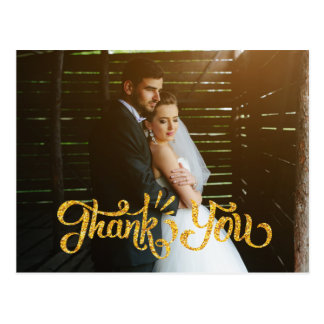 Rustic Wedding Thank You Postcards Photocard Gold
