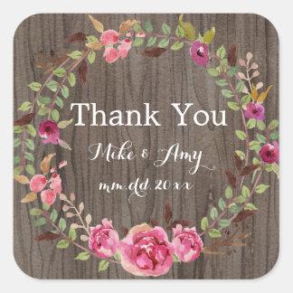 Rustic Wedding Thank You Sticker Floral Wedding