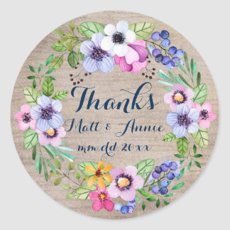 Rustic Wedding Thanks Sticker Watercolor Flowers