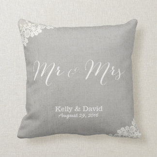 Rustic Wedding Vintage Lace & Linen Mr & Mrs Cushion