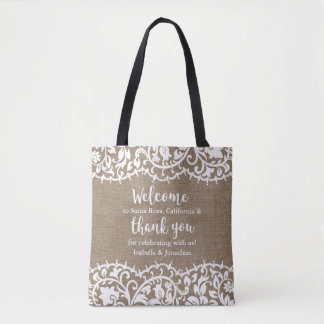 Rustic Wedding Welcome and Thank you Personalized Tote Bag