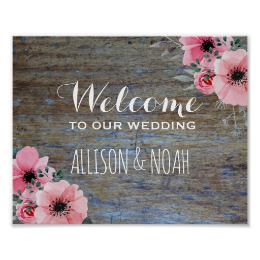 Rustic Wedding Welcome Sign | Floral Woodgrain