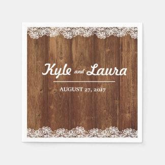 Rustic Wedding Wood Lace Napkin Disposable Serviette