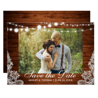 Rustic Wedding Wood Lights Lace Save the Date Card