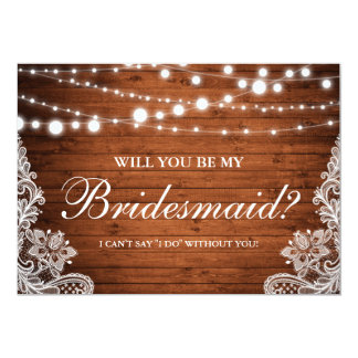 Rustic Wedding Wood String Lights Lace Bridesmaid Card