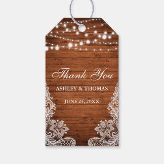 Rustic Wedding Wood String Lights Lace Thank You