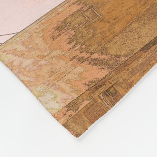 Rustic Western Building in Tiled Pattern Fleece Blanket