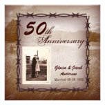 Rustic Western Country 50th Anniversary Party Personalized Announcement