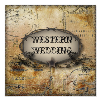 rustic western country barbed wire wedding card