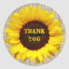 Rustic Western Country Burlap Sunflower Wedding Classic Round Sticker