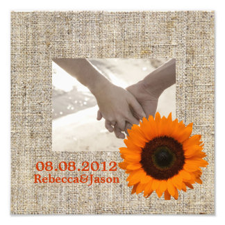 Rustic Western Country Burlap Sunflower Wedding Photographic Print