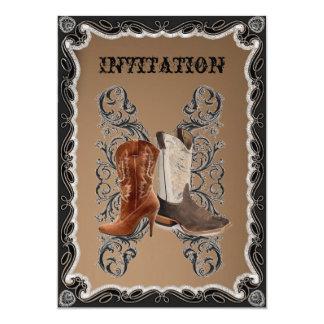 Rustic western country cowboy wedding 13 cm x 18 cm invitation card