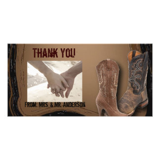 rustic western country cowboy wedding photo greeting card