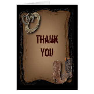rustic western country cowboy wedding thank you card