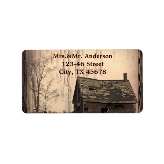 rustic western country farm barn wedding address label