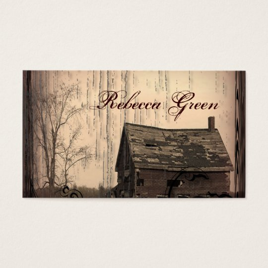 rustic western country farm barn wedding business card