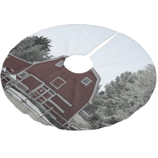 rustic western country farm landscape red barn brushed polyester tree skirt